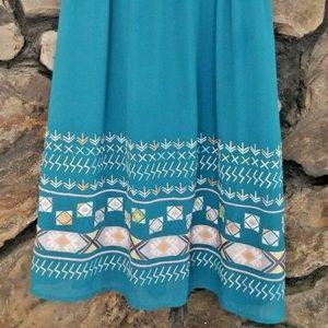 Sundance Boho Midi Dress Sz 8 Med Turquoise Aztec